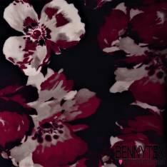 Crepe Viscose Imprime Grosse Fleur Fond Nuit