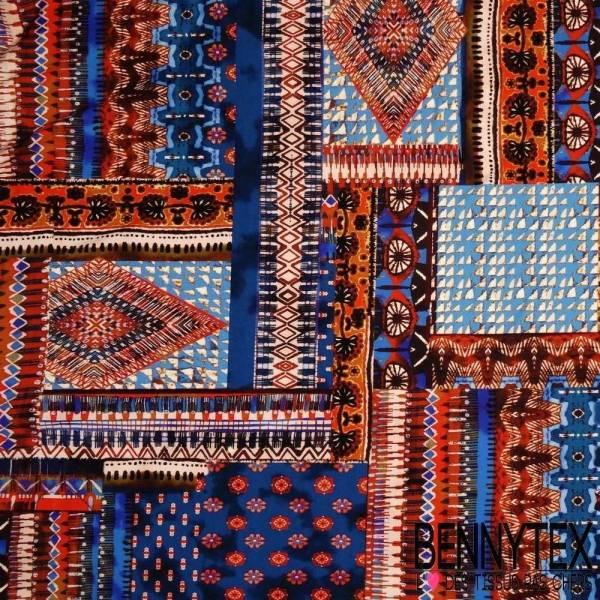 Jersey Viscose Imprime Patchwork Motif Inca