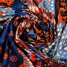 Jersey Viscose Imprime Patchwork Motif Incas