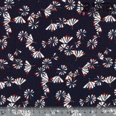 Fibranne Polyester Imprimé Eventail sur fond Bleu Marine