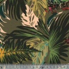 Fibranne Viscose Imprimé Tropical sur fond Kaki