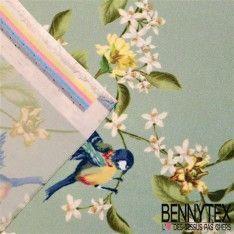 Satin Polyester Imprimé Oiseau Fleurs Fond Vert