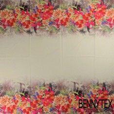 Satin de Coton imprimé Fleurs Double Bande Motif Placé