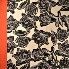 Satin de Coton imprimé Panneau Fleurs Noir