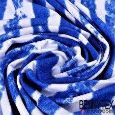Jersey Viscose Imprimé motif Trait Horizontal Bleu