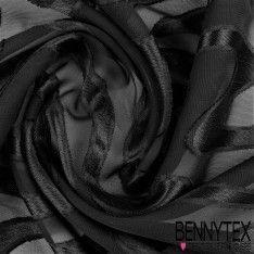 Mousseline Dévoré Polyester Motif Ondulé Couleur Noir